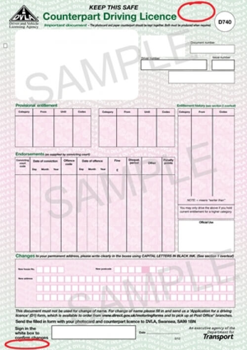 Help with a paper driving licence